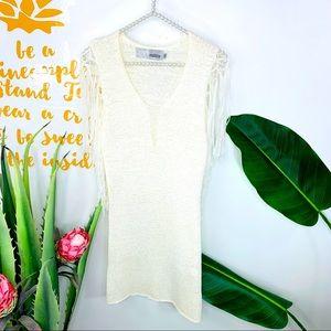 MIilla Off White Fringe Knit Dress Size Medium